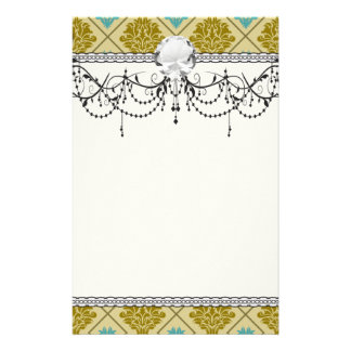 taupe and teal diamond damask personalized stationery