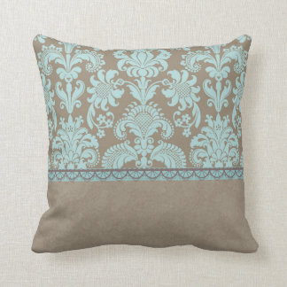 Taupe and Turquoise Damask Cushion