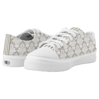 Taupe and White Damask ZipZ Tennis Shoes