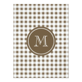 Taupe and White Gingham, Your Monogram 17 Cm X 22 Cm Invitation Card