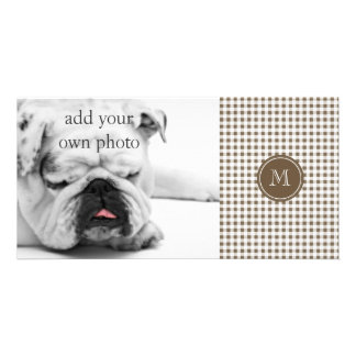 Taupe and White Gingham Your Monogram Photo Cards