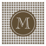 Taupe and White Gingham, Your Monogram Poster