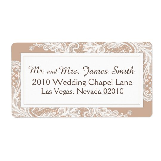 Taupe and White Lace Wedding Label Shipping Label