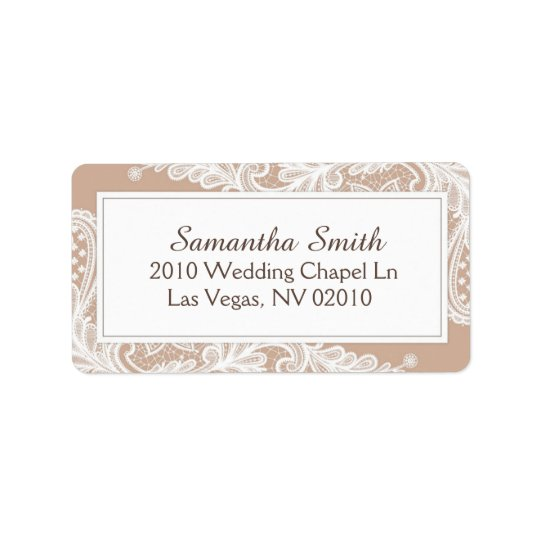 Taupe and White Lace Wedding Labels