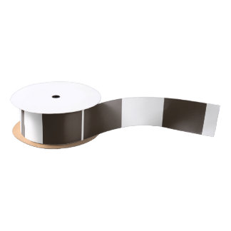"""Taupe and White Striped 1.5"""" Wide Satin Ribbon"""
