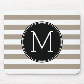Taupe and White Striped Pattern Black Monogram Mouse Pad