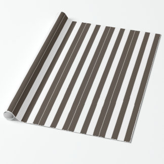 Taupe and White Vertical Stripes Wrapping Paper