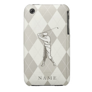 Taupe Argyle Pattern, Personalized Golf iPhone 3 Case-Mate Case