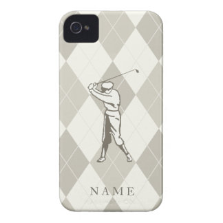 Taupe Argyle Pattern, Personalized Golf iPhone 4 Case