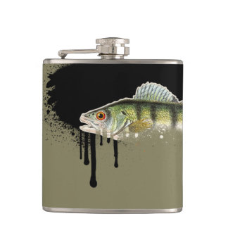 Taupe background with Bright Green & Orange Fish Hip Flask