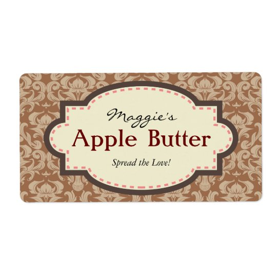 Taupe & Brown Apple Butter Jam Jar Labels,