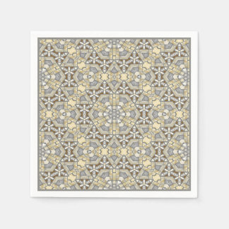 Taupe Brown Gray Beige Mosaic Kaleidoscope Pattern Disposable Napkins