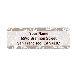 Taupe Brown Hawaiian Address Labels