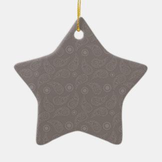 Taupe Brown Paisley Pattern Ceramic Star Decoration