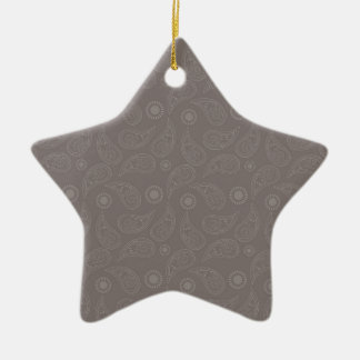 Taupe Brown Paisley Pattern Double-Sided Star Ceramic Christmas Ornament