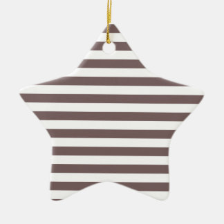 Taupe Brown & White Stripes; Striped Ceramic Star Decoration