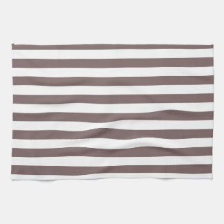 Taupe Brown & White Stripes; Striped Towel