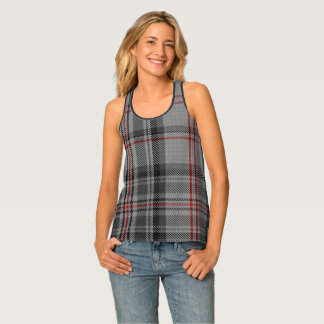 Taupe Charcoal Grey Black Red Giant Tartan Plaid Tank Top