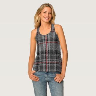 Taupe Charcoal Grey Black Red Tartan Plaid Tank Top