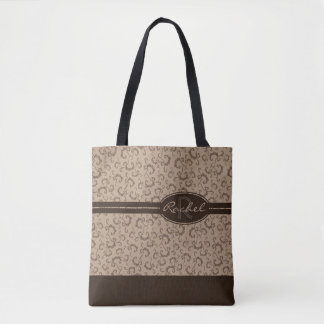 Taupe & Chocolate Monogram All-Over-Print Tote