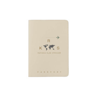 taupe clean & clear monogram travel passport holder