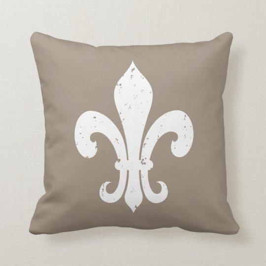 Taupe colour fleur de lis throw pillow
