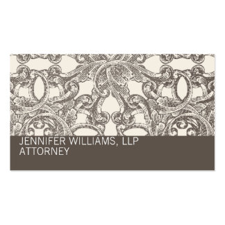 Taupe Damask Attorney Lawyer Business Card
