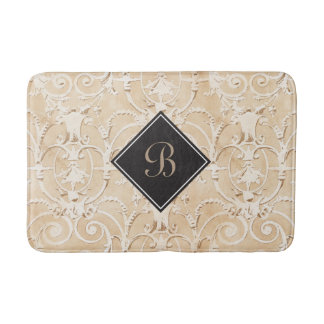 Taupe Damask Monogram Bath Mat