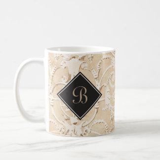 Taupe Damask Monogram Coffee Mug