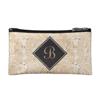 Taupe Damask Monogram Makeup Bag