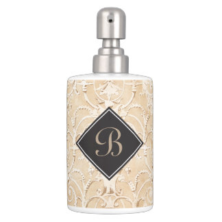 Taupe Damask Monogram Soap Dispenser And Toothbrush Holder