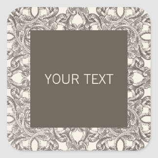 Taupe Damask Sticker Template for Business