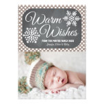 Taupe Dot Chalkboard Snowflake Holiday Photo Card