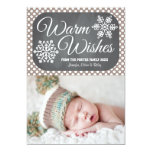 Taupe Dot Chalkboard Snowflake Holiday Photo Card Personalised Announcement