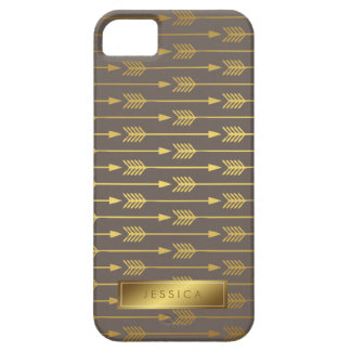 Taupe Faux Gold Foil Arrows Pattern iPhone 5 Cover
