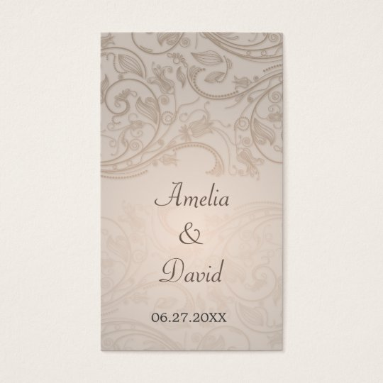 Taupe Flourish Special Occasion Placecard Business Card