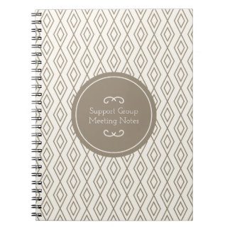 Taupe Geometric Diamond Pattern Support Group Notebook
