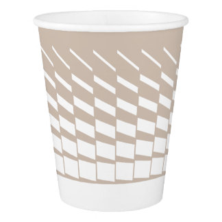 Taupe geometric kinetic art graphics paper cup