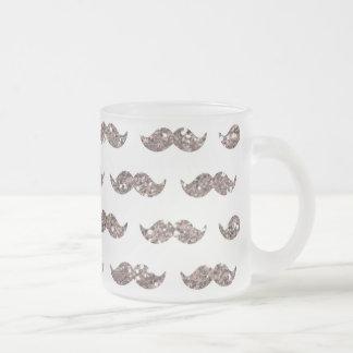 Taupe Glitter Mustache Pattern Printed Mug
