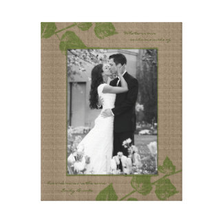 Taupe Green Leaves Portrait Photo Template Picture Canvas Print