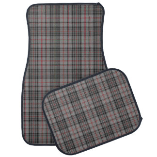 Taupe Grey Red Black Tartan Plaid Car Mat