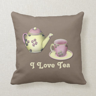 "Taupe ""I Love Tea"" Throw Pillow w/Tea Pot and Cup Throw Cushion"