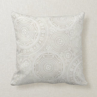 Taupe Ivory Lace Doily Neutral Mandala Print Cushion