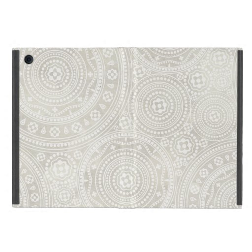 Taupe Ivory Lace Doily Neutral Mandala Print iPad Mini Cover