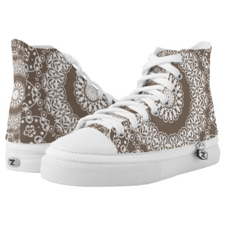 Taupe Lace Pattern Zipz High Top Printed Kicks Printed Shoes