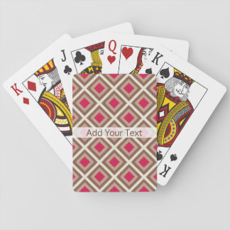 Taupe, Light Taupe, Hot Pink Ikat Diamonds STaylor Playing Cards