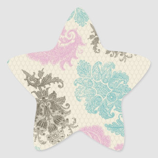 taupe mauve and blue flower damask star sticker