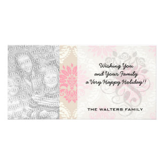 taupe pink and ivory damask design pattern picture card