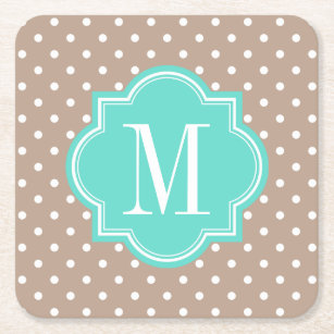 Taupe Polka Dot With Turquoise Monogram Square Paper Coaster