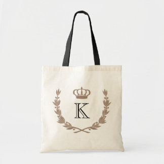 Taupe Princess Crown & Monogram Budget Tote Bag